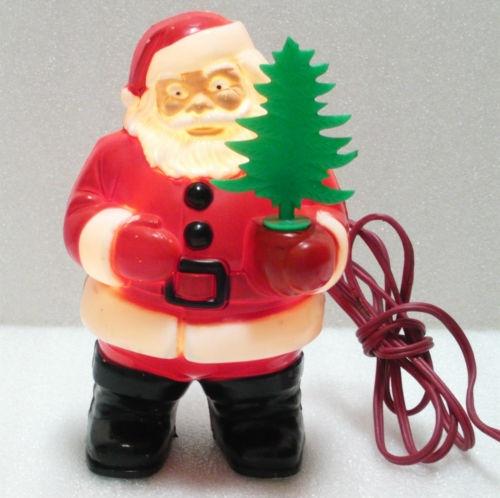 Vintage Christmas Royal Plastic Santa Holding Tree Light