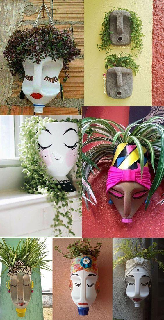 Pots de fleurs design avec des bouteilles en plastique recyclé Jardin Photo Blog