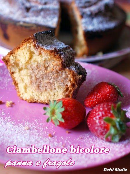 Ciambellone bicolore panna e fragole