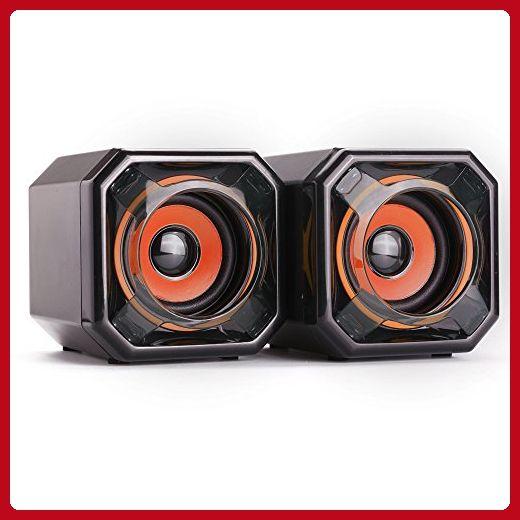 WESDAR Computer Speakers, 3.5mm USB Powered Subwoofer PC Speakers for Desktop Laptop Notebook, Pack of 2 (Orange) - Audio gadgets (*Amazon Partner-Link)
