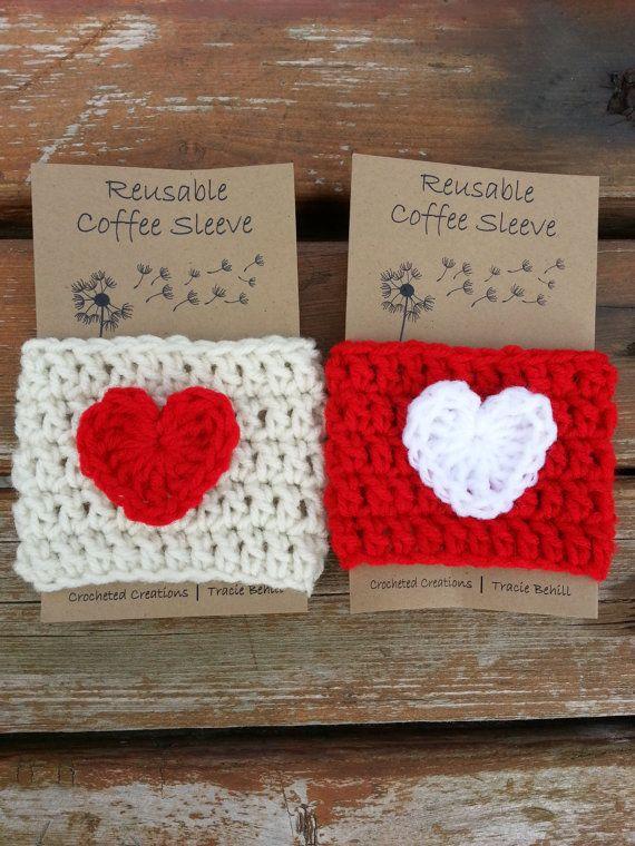 Valentin Crochet café Cozy / manchon par WhitleyBlooms sur Etsy