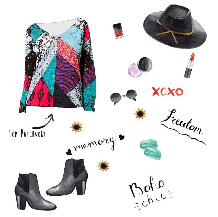 Look Boho chic http://www.cotondumonde.com/top-patchwork