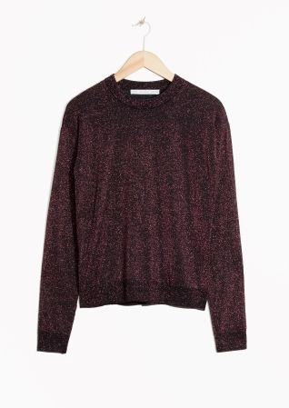 & Other Stories image 2 of Sparkling Merino Wool Sweater in Burgundy