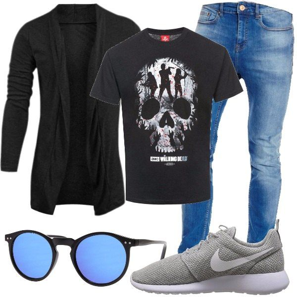 Una t-shirt per appassionati, abbinata al cardigan lungo, senza bottoni e ai jeans. Propongo di abbinare scarpe da ginnastica grigie e occhiali da sole con lenti a specchio.