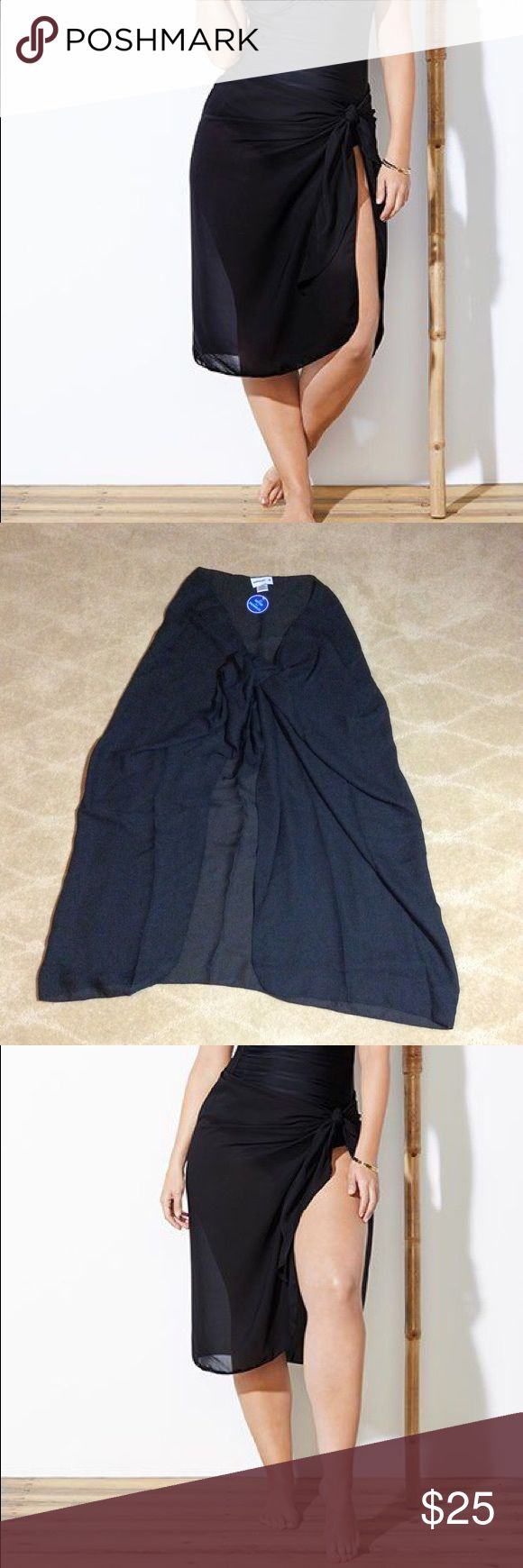 Swimsuits For All NWT Cameron Black Sheer Sarong Swimsuits For All brand NWT Cam…