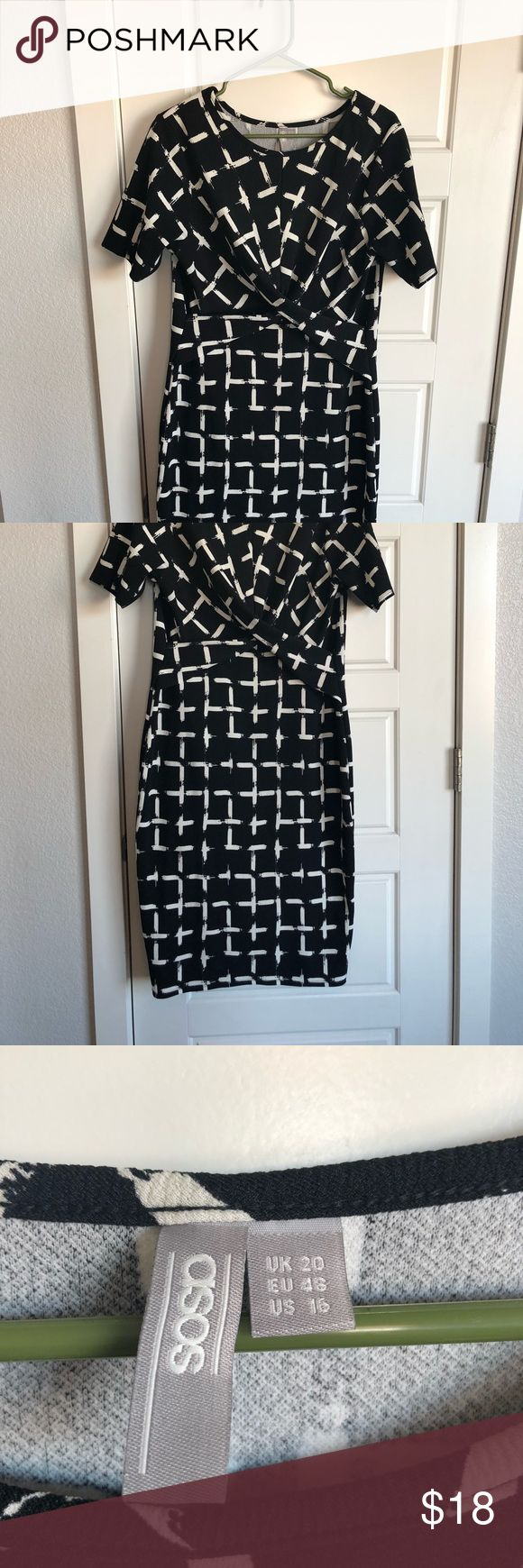 wiggle dress Super flattering (just google asos wiggle dresses and see how cute they are on- the hanger does not do it justice!) I was able to wear it for many sizes because of stretch- US 16 to maybe US 12. Hits me just below the knee- I'm 5'3 ASOS Dresses Midi