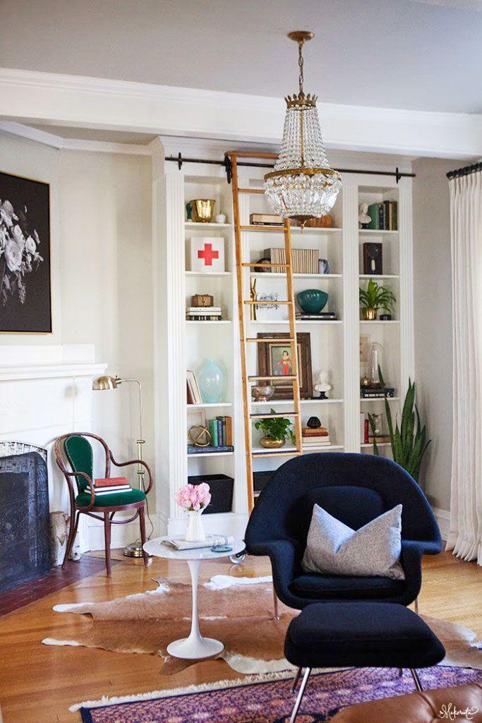 The-Makerista-Ikea-Bookshelf-Hack-Billy-Built-ins-French-Basket-Chandelier-Library-Ladder-683x1024