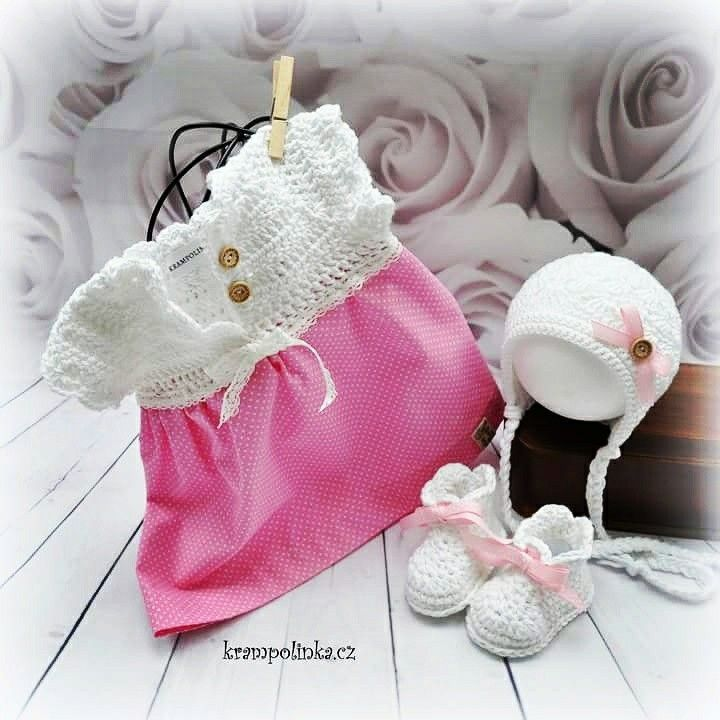 #Crochet baby girl dress #krampolinka.cz