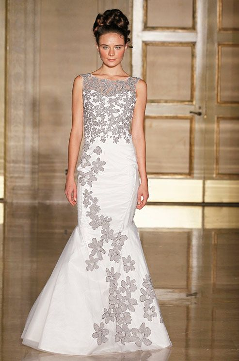 The floral embroidery on this Douglas Hannant gown is a beautiful way  to add some edge to a spring celebration.