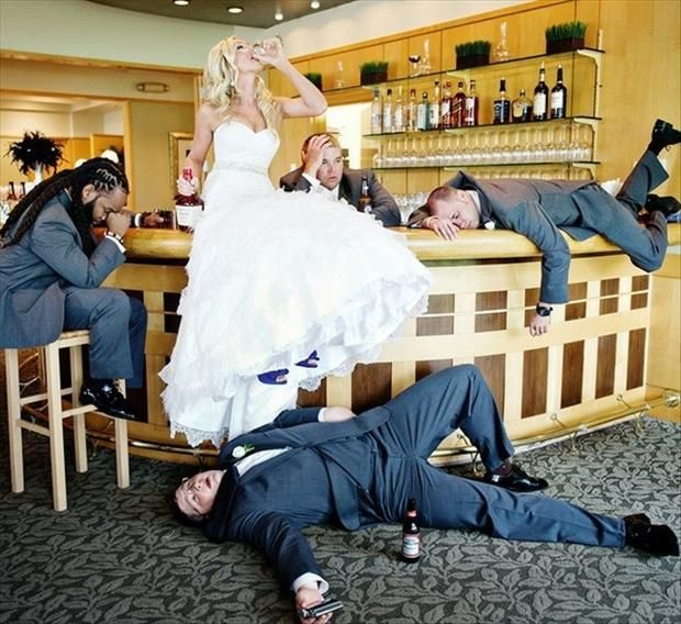 funny wedding pictures, drinking after party