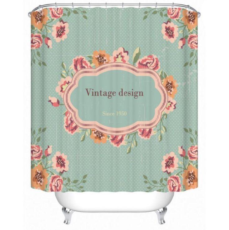 Pas cher r tro fleur mode opacit rideau de douche de bain - Rideaux de douche pas cher ...