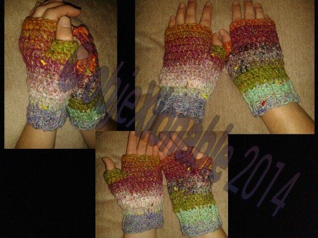Asymmetrical multi coloured earth tone crochet wristies/fingerless mittens