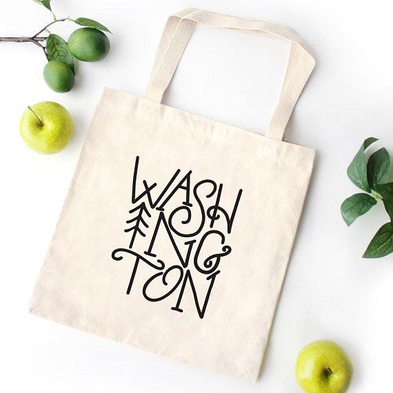 Pacific Northwest Tote Bag Lightweight, Washington State Canvas Bag, Grocery bag, canvas tote bag, gift bag