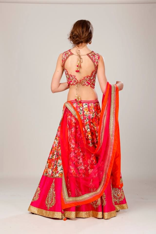 Hand made floral print lehnga with hand embroidered choli,   A beautiful combination of skill and design Shop our newest Summer '15 Collection at 118C Shahpur Jat,  New Delhi - 49 Or Call us at + 91 9818889727