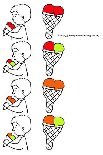 ijsjes bij juiste kindje leggen