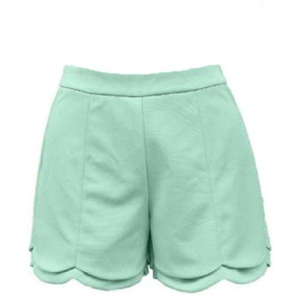 Towallmark Women High Waisted Back Zipper Mint Green Summer Shorts (22 BRL) ❤ liked on Polyvore featuring shorts, high rise shorts, high waisted shorts, highwaist shorts, mint shorts and mint high waisted shorts