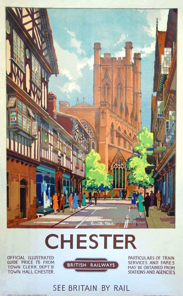 Chester St Werburgh Street A 1950's Poster of the Cathedral from St Werburgh Street Artwork by Kenneth Steel.17
