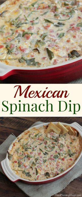 You'll love this twist on spinach dip! Mexican Spinach Dip is made with all-natural ingredients, full of veggies and perfect for game day or any occasion! #SundaySupper http://www.mealplanningmagic.com/mexican-spinach-dip/
