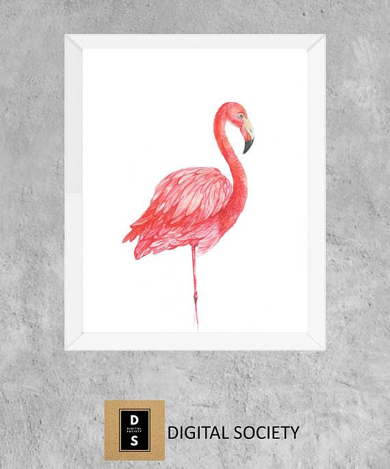 flamingo watercolour watercolor home nursery decor bird