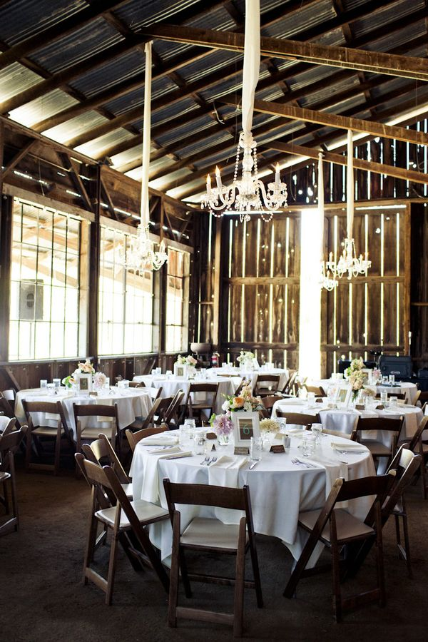 Chunky ribbon and chandeliers - elegant barn setting!!!