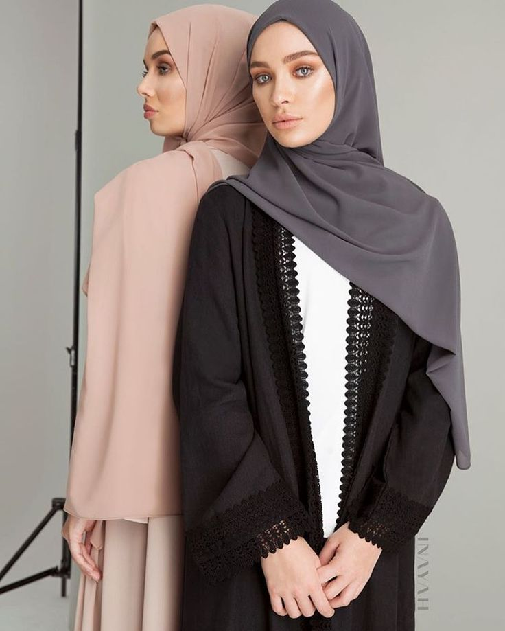 Effortless Chic in contemporary classics. Our new kimono collection is now available online! Black Ramie Kimono with Lace  Dusty Ash Soft Crepe Hijab www.inayah.co