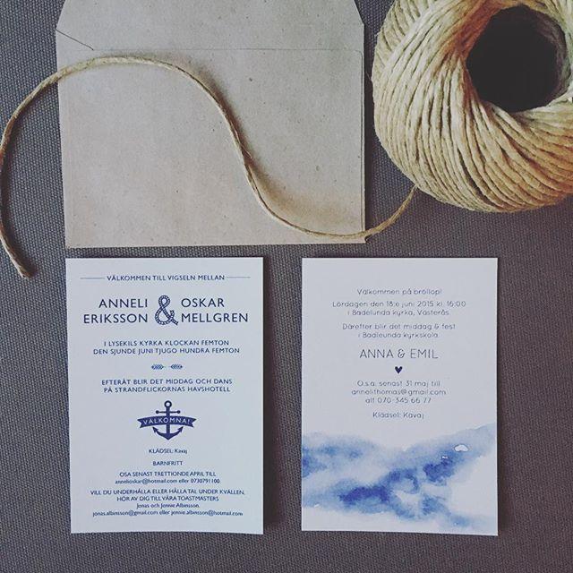 2 marina provkort färdiga för leverans. #inbjudningar #inbjudanbröllop #inbjudningskort #marint #marintbröllop #bröllopsinbjudan #bröllopskort #marinblått