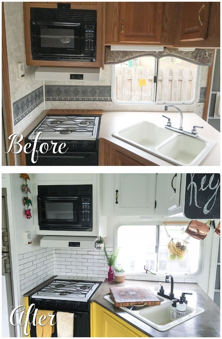 Earlier than and after footage of a RV kitchen renovation.... ** See more at the picture link