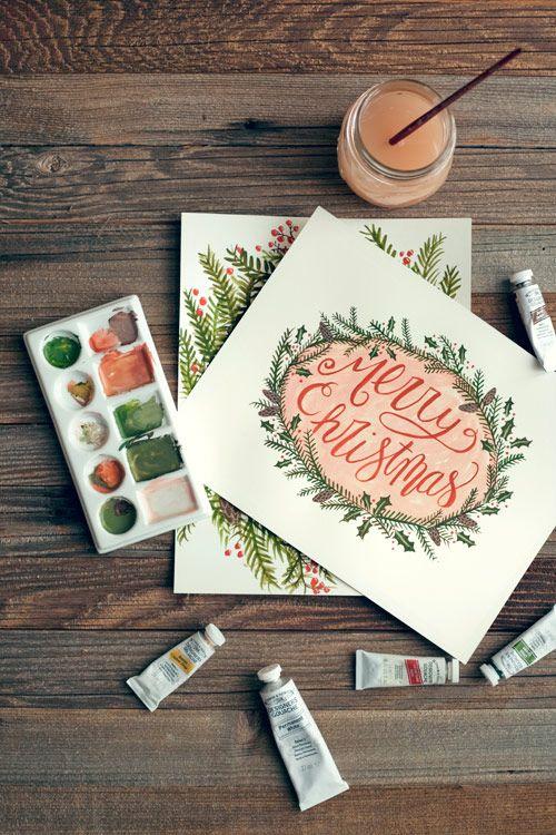 Merry Christmas gouache painting.
