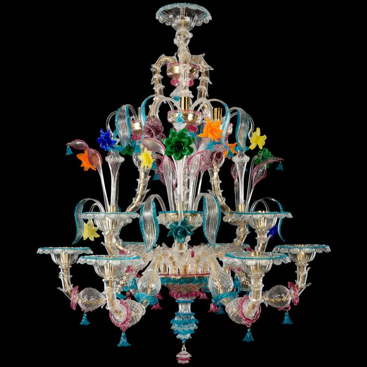 #Rezzonico #chandelier, 12 lights. Crystal and polychrome details. #Hardpaste flowers.