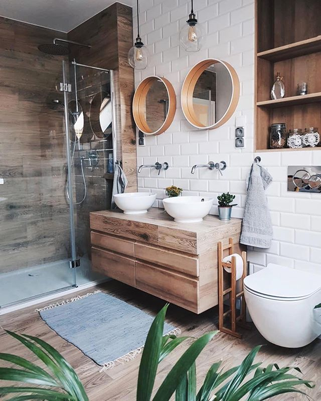 Bathroom Ideas: Stained Wood Vanity // Beachy Boho Bathroom // White Tile