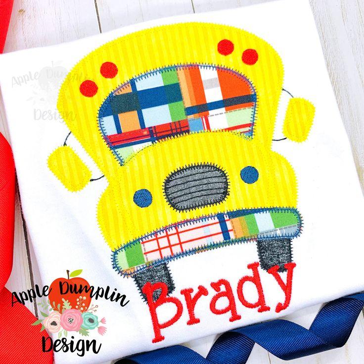 School Bus, Zigzag, Applique Design, Machine Embroidery