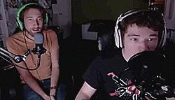 I love how calm Michael's reaction is compared to Gavin who flings off his headphones and curls up in a ball. --- Michael and Gavin play FNAF3 part 1