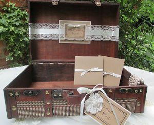 Suitcase Tweed Style Vintage Honeymoon Fund Wedding Card Holder Post Box