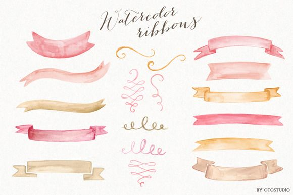 Check out Watercolor Ribbons & Ornaments by OtoStudioDesign on Creative Market http://crtv.mk/fOMO