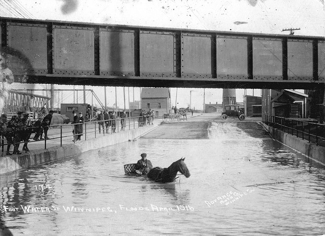 """Foot [of] Water St. Winnipeg, Flood April 1916  Undamaged portion of badly stained postcard depicting the Red River flood of 1916. This appears to be Water Avenue, looking east with what is presumably the Provencher (or Broadway) Bridge in the left background. The postcard was mailed to Miss Hilda Foley of Perth, Ontario, by """"E.A.L."""" of 279 Burnell St. on May 2, 1916, showing how real photo postcards were used to depict events virtually as soon as they happened. Image credited to Advance…"""