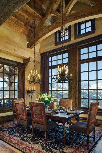Mountain home dining area with a terrific view by kelli for Beautiful dining area