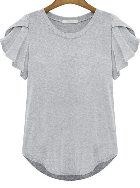 The draped sleebes are a nice detail    Grey Round Neck Ruffle Short Sleeve T-Shirt US$17.09