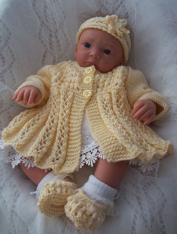 PDF DOWNLOAD BABY KNITTING PATTERN  PLEASE NOTE: This is a set of instructions, not the physical object.  This sale is for the English PDF knitting pattern to create my outfit Sarah-Jane ( © Precious Newborn Knits Ref: JH39) A gorgeous pattern to knit this baby girls sweater set. The design features an easy to knit full skirted matinee coat with a matching headband and pair of mary jane style booties. Knitted from the both up on two needles. You will receive instructions to knit the matinee…