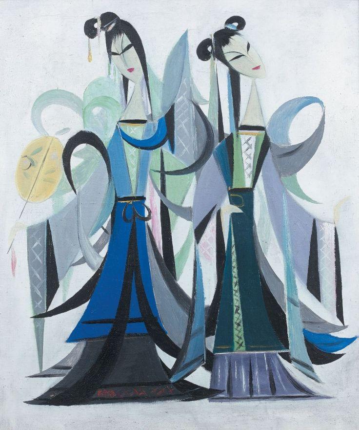 14- 372 000 € LIN FENGMIAN (1900-1991) Série de l'opéra : Le Pavillon des Pivoines Dim. : 51,1 x 43,5 cm Provenance : oeuvre rapportée de Hong Kong par une famille franco-asiatique dans les années 1950. Morand & Morand, vente le 15 juin 2015. #ArtModerne #Peinture #Bleu #AsianArt