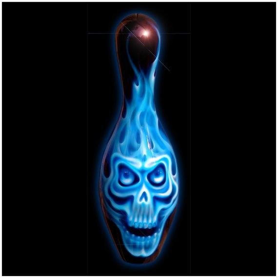 Custom Painted Bowling Pin  Blue Skull by hardartkustoms on Etsy, $125.00