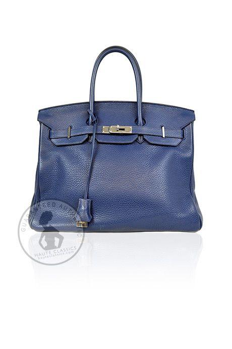 HERMES Blue Leather 35cm Birkin Bag With Silver Hardware - HauteClassics