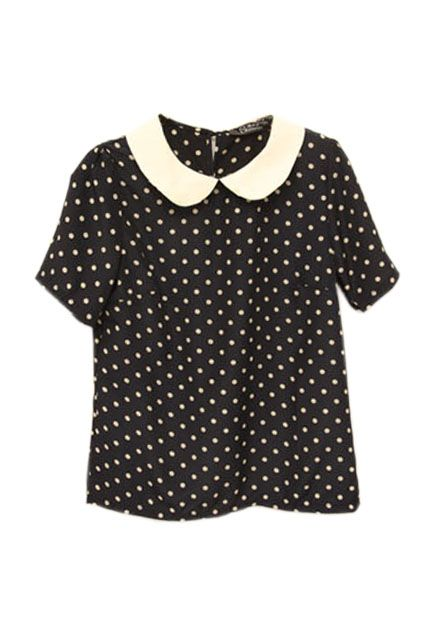 polkadot shirt with peter pan collar