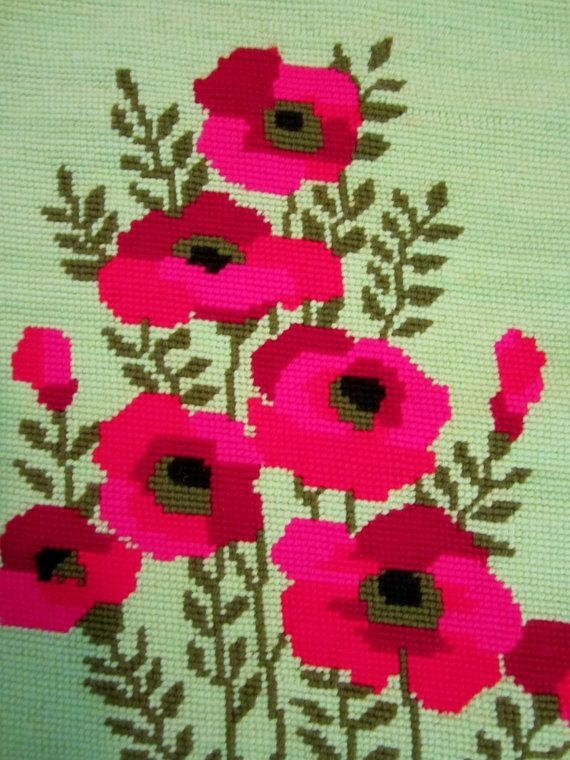 Vintage 1970s Needlepoint Canvas Pillow Cover or Wall Hanging-Retro Flower Power.