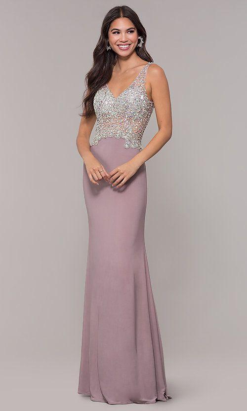 02348da8 Long V-Neck Mocha Prom Dress in 2019   Dress   Prom dresses, Dresses ...
