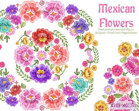 Fiesta Digital Clipart Spanish Mexican Clipart Mexican Florals Graphics Cinco De Mayo Graphics Watercolor Clip Mexican Flowers Clip Art Watercolor Flowers