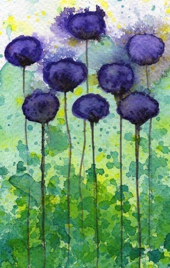 Acuarela: Flores acuarela pintura impresión del artehacia