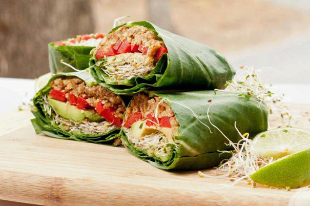 Collard green wraps.  Image courtesy Giva Organic Restaurant in Chiang Mai, Thailand