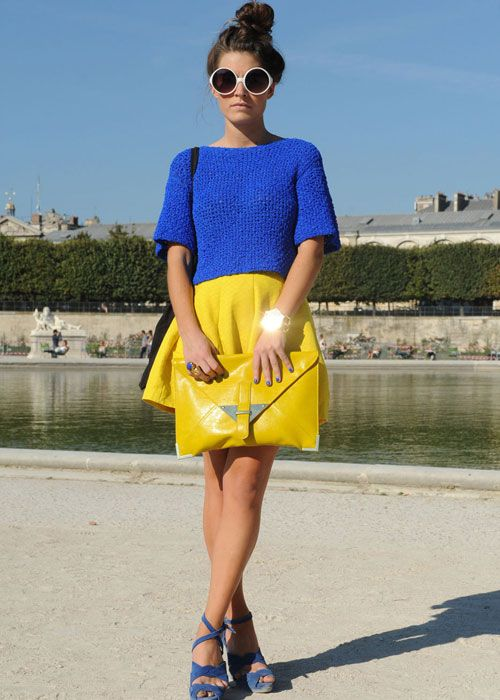 This Diad combination of blue and yellow is confident colour blocking!  Photo credit: pinterest.com