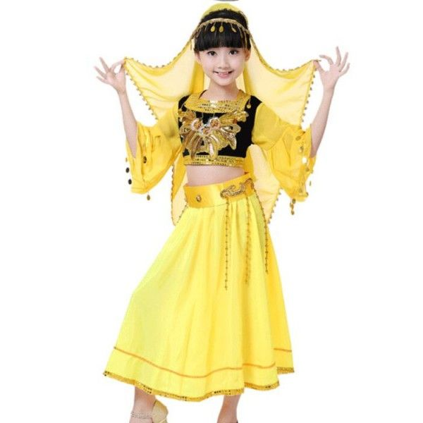 Belly Dance Costume 4 pec Set Long Sleeve Top /& Skirt /& Belt /& Head Veil
