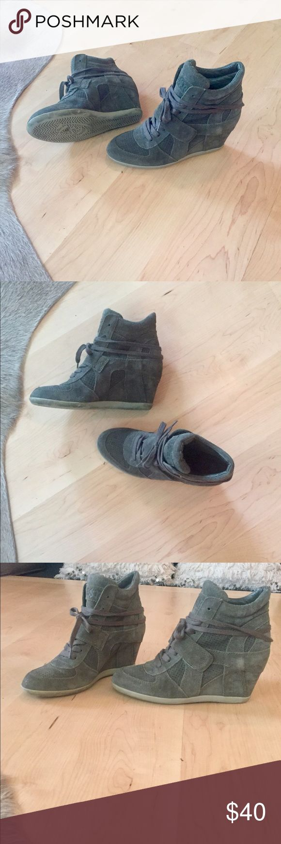 Ash Bowie Sneakers Ash Bowie Sneakers in army green. Hidden wedge makes these so cute and comfortable! Worn twice. Purchased to large. Ash Shoes Sneakers